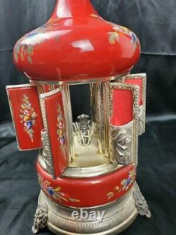 12 Tall Reuge Red Demon feet Antique Italian Cigarette Musical Carousel WORKS