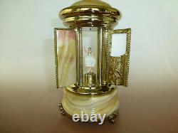 1960s Reuge Dancing Ballerina Music Box Carousel Holder Natural Onyx Stone Case