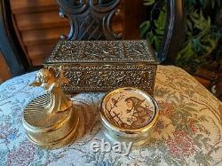 3 Vintage Gilt Metal Cherub Brass Jewelery Music Box Musical Case Napier Reuge
