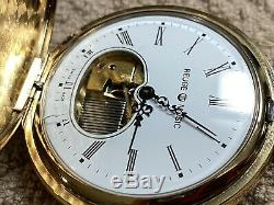 AS-IS Reuge Vintage Automaton Musical Pocket Watch Gold Plate, Plain Dial