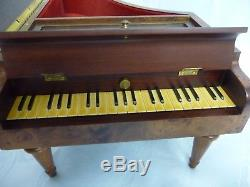 Amazing Grand Piano Jewelry Music Box By Reuge, Plays 3 Songs, Inlaid Design