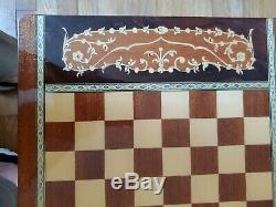Antique 1940's-50's Chess Board Table Music Box Swiss Made Ornate wood GORGEOUS