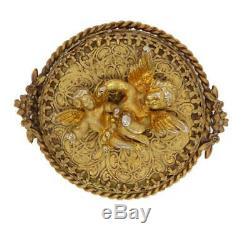 Antique Austrian Reuge Cherub Winding Musical Brooch