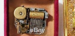 Antique Bronze Dore Miniature Hand Painted Madonna Mary Portrait Reuge Music Box