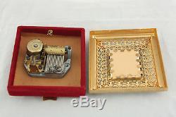 Antique Bronze Dore Miniature Hand Painted Portrait Madonna Reuge Music Box