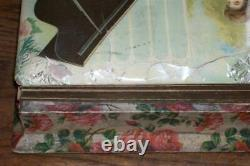 Antique Celluloid Photo Album withReuge Swiss Music Box Player Woman Pianist Works