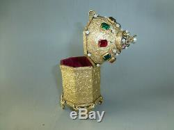 Antique German Gold Gilt Jewelry Ornate Case Reuge Music Box (watch The Video)