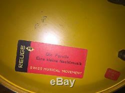 Antique Porcelain Reuge Carousel Cigarette Lipstick Dispenser Swiss Music Box