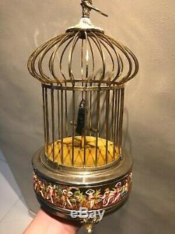 Antique Rare Swiss Reuge Singing Bird Cage Music Box Automaton Capodimonte