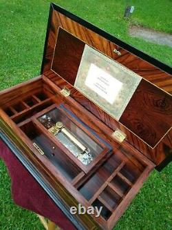 Antique Rosewood Inlaid Music/Jewelry box with 72 note Reuge Mechanism