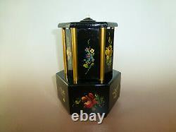 Antique Swiss Music Box Musical Automaton Carousel Lipstick / Cigarette Holder