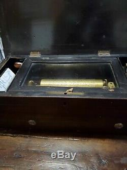 Antique Swiss interchangeable Inlaid Rosewood Cylinder Music Box Reuge Restore