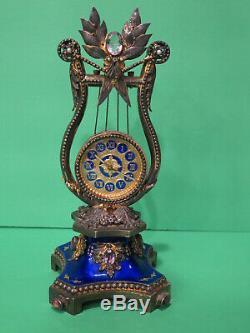 Antique Vintage Reuge Gilt Sterling Silver Clock Music Box (Lyre Shape) Amethyst