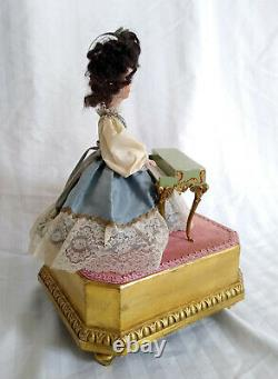 Antique Vintage Reuge Swiss Animated Bisque Doll Woman Piano Musical Jewelry Box