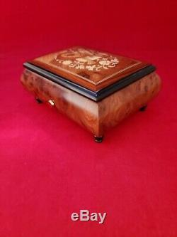 Beautiful Inlaid Music Box with 36 Note Reuge Swiss Precision Movement. Listen