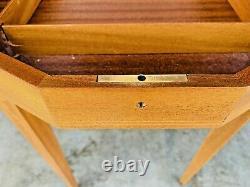Beautiful MID Century Modern Reuge Swiss Movement Inlay Music Box Table