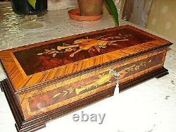 Beautiful Made In Italy Wood Inlaid Music Box 72 Note, Wind Beneath My Wings