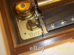 Beautiful Original Reuge 72 Note Music Box S# 33274 Solid Mahogany
