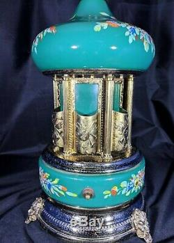 Capidomonte Carousel Reuge Metal Hand Painted Music box cigarette