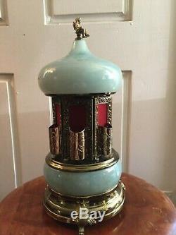 Capodimonte Marble Agate Reuge Swiss Cigarette Cigar Holder Carousel Music Box