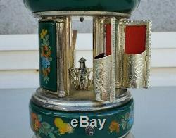 Capodimonte Reuge CAROUSEL Dr Zhivago Green harp Music Box