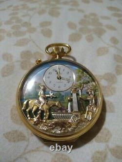 Charles Reuge Double Automation Pocket Watch Huntsman's Rest Musical Watch