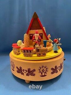 ERZGEBIRGE Christmas Music Box Glasser Carved Wood REUGE/ROMANCE Germany