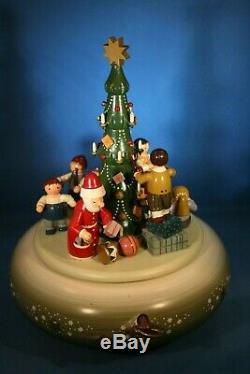 ERZGEBIRGE KWO Music Box Christmas Carved Wood REUGE/ROMANCE Germany