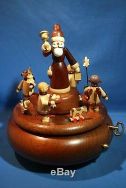 ERZGEBIRGE MUELLER Music Box Christmas Carved Wood REUGE/ROMANCE Germany