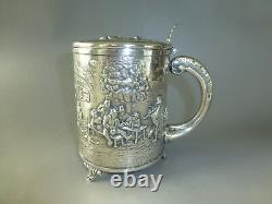 EXC. Rare Vintage Reuge Music Box Large Sterling Pewter Beer stein Musical Cup