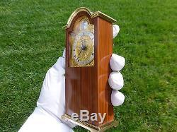 EXC Vintage Reuge Music Box Alarm Swiza Miniature Tempus Fugit Grandfather Clock