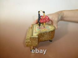 EXC Vintage Swiss Reuge Dancing Ballerina Music Box Gold Tone Brass Piano Case