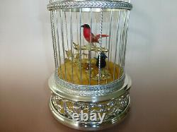 EXC Vintage Swiss Reuge Singing Bird Cage Sterling Silver Cage (Watch The Video)