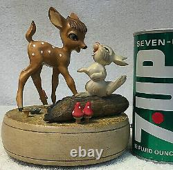 EXTREMELY RARE! Disney Anri Reuge Bambi And Thumper Music Box With ON/Off KNOB