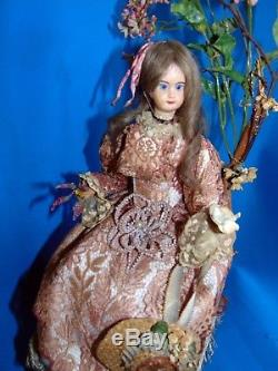 Elegant antic French doll AutomatonREUGE Swiss Musical 3 movements Lady & dove