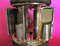 Embossed Leather Cover Reuge Swiss Music Box Carousel Lipstick Cigarette Holder