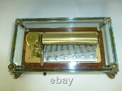 Exc Vintage Swiss Reuge 72 Music Box, Crystal Clear Glass Case With Dolphin Legs