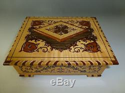 Exc Vintage Swiss Reuge Dancing Ballerina Music Jewelry Box Nice Marquetry Inlay