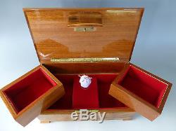 Exc. Vintage Swiss Reuge Dancing Ballerina Music Jewelry Box (watch The Video)