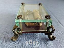 Exc Vintage Swiss Reuge Music Box, Crystal Clear Glass Case, Music Of The Night