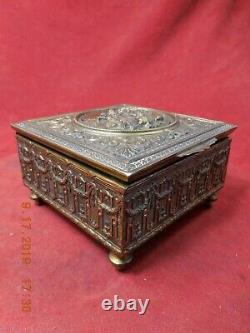 FRED ZIMBALIST/ JENNINGS BROTHERS BRASS MUSICAL TRINKET BOX With REUGE MOVEMENT
