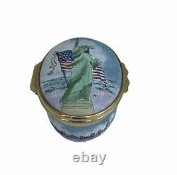 Halcyon Days Tiffany & Co. Statue Of Liberty Enamel Trinket Box Reuge Music Box