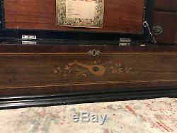 Harp Harmonica Piccolo Zither Mechanical Music Box Switzerland 1800, s Nice Wow