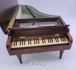 Huge 14.5 Reuge Wood Inlaid Grand Piano Music Box 72 Note Movement EXC++