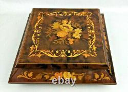 ITALIAN Wooden Music Box / Jewelry Box, Reuge Music Box Dancer, Large 10