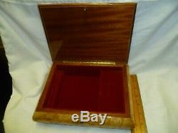 Large Inlaid Burl Wood Italian Musical Jewelry Box Reuge Dr, Zhivago 9x7x2.25