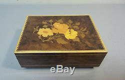 Lovely Vintage Reuge Swiss Inlaid Jewelry / Trinket Box, Plays Edelweiss