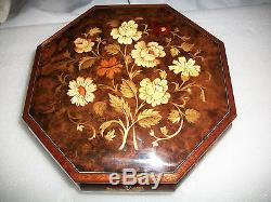 NEW REUGE OCTAGON MUSIC JEWELRY BOX IN FACTORY BOX FROM THE 70s LA VIE EN ROSE