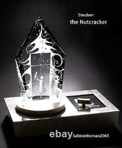 NEW in BOX STEUBEN Glass engraved the NUTCRACKER ornament REUGE music box Heart