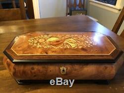 NIB REUGE Large Musical Jewelry Box, Briarwood, Vivaldi Four Seasons, Italy